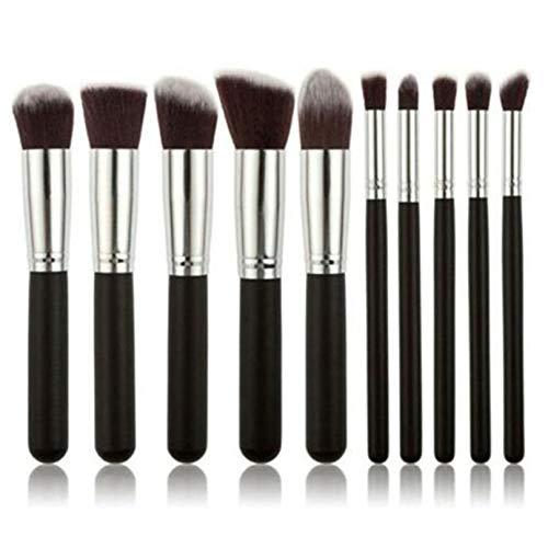 Eleusine 10 Stück Professional Makeup Cosmetics Brushes Foundation Lidschattenpinsel-Set (Silber schwarz)