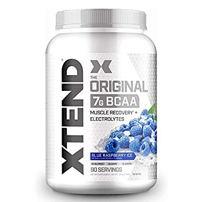 XTEND Original BCAA Powder Blue Raspberry Ice   Sugar Free Post Workout Muscle Recovery Drink with Amino Acids   7g BCAAs for Men & Women   90 Servings