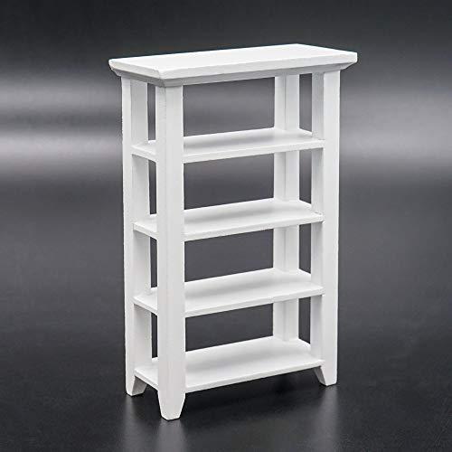 Odoria 1/12 Miniatur Aufbewahrung Stand Bücher Regal, Weiß Puppenhaus Möbel Zubehör