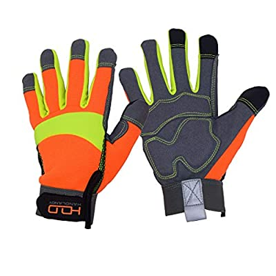 Hi Viz Safety Work Gloves, Anti Vibration Work Gloves, Touch Screen,High Visibility Reflective Gloves for Rescue