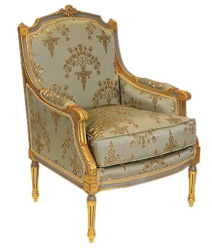 Casa Padrino Barock Lounge Thron Sessel Empire Jadegrün Muster/Gold - Ohren Sessel - Ohrensessel Tron Stuhl