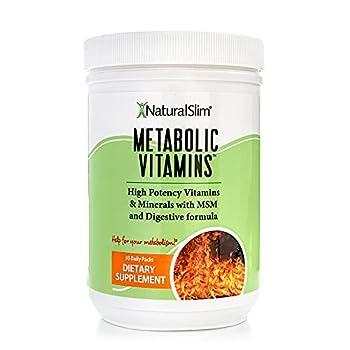 Naturalslim Metabolic Vitamins - Combination of High Potency Multivitamins Minerals B Complex Msm & Digestive Formula Supplements for Men & Women - Energy & Metabolism Support - 1 Pack