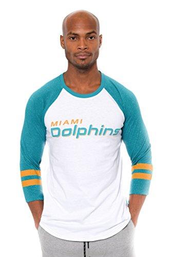 Ultra Game NFL Miami Dolphins Mens Raglan Baseball 3/4 Long Sleeve Tee Shirt, White, Medium