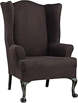 SureFit Home Décor SF44472 Simple Stretch Twill Wingback Chair Slipcover Polyester/Spandex Machine Washable One Piece Chocolate Color