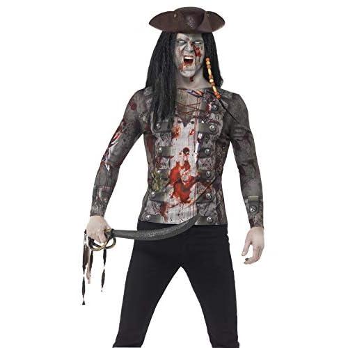 Smiffys T-Shirt Pirata zombie, Verde, con stampa a sublimazione