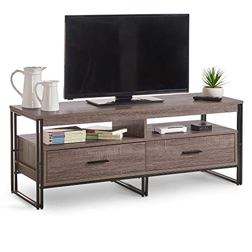 VonHaus TV Unit – Industrial TV Stand Cabinet With 2 Drawers, Walnut Effect Rustic TV Unit with Black Frame, TV Stand for Living Room, Easy To Assemble Furniture