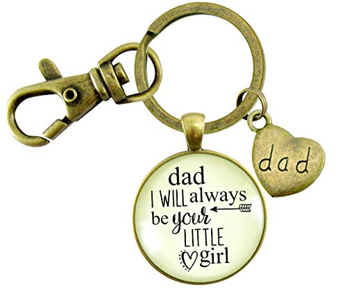 Gutsy Goodness Father Daughter Keychain Dad I Will Always Be Your Little Girl Daddy Wedding Keepsake