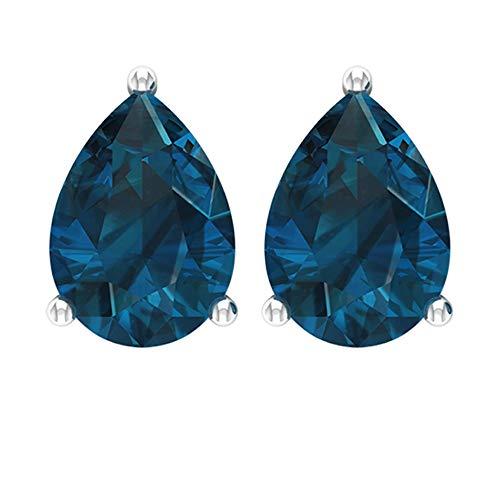 2.20 CT Solitaire Teardrop Blue Topaz London Stud Earring, Pear Shaped8x6mm Certified Blue Gemstone Earring, Anniversary Birthstone Mother Earring Set,18K Rose Gold, Pair