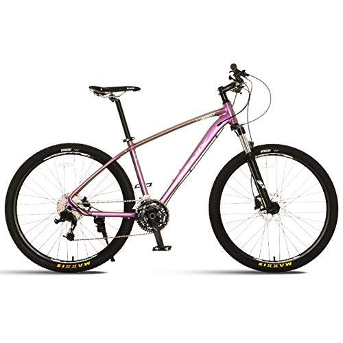 JKCKHA Bicicleta De Montaña para Hombres Y Mujeres, Ruedas De 27,5 Pulgadas, Cambios De 27 Velocidades, Cuadro De Aluminio, Frenos De Disco Hidráulicos, Hardtail,Electric Violet