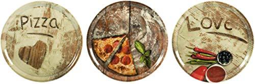 Topkapi Pizzateller-Set Pizza-Amore - 3 Stück große Pizzateller Ø ~31,5 cm mit Komplett Dekor Volldekor Herz Pizza Love Amore, Keramik