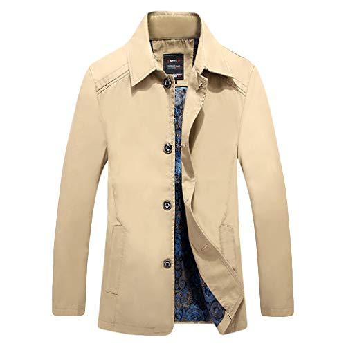 MAYOGO Herren warm Baumwolle Mäntel Jacke Männer Kurzmantel Winter Jacke Business Slim fit (Khaki, L)