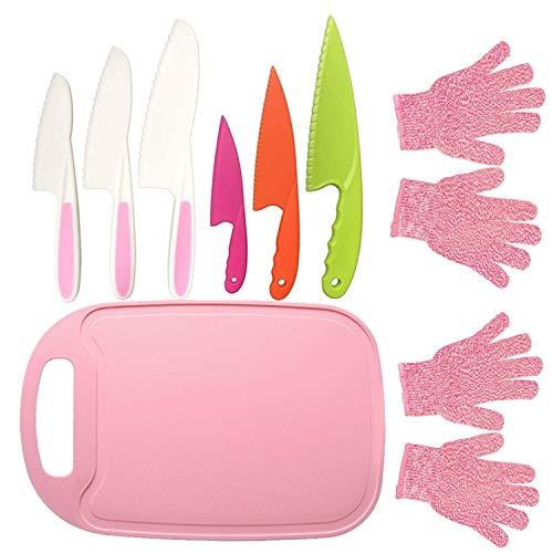 9PCS Kids Plastic Knife Set,Kids Safe Knife Set with 2 Pair Cut Resistant Gloves (Ages 6-12) & Kids Cutting Board,Real Kids Cooking Tool BPA-Free Kids' Knives for Fruit, Bread, Cake, Salad (Pink)