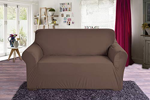 Elegant Comfort Jersey Luxury Featuring Super Soft Pet Dog Furniture Protector Fitted Couch Slipcover, Love Seat, Chocolate