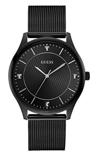 GUESS Men's Analog Quartz Watch with Stainless Steel Strap, Black, 18 (Model: GW0069G3)