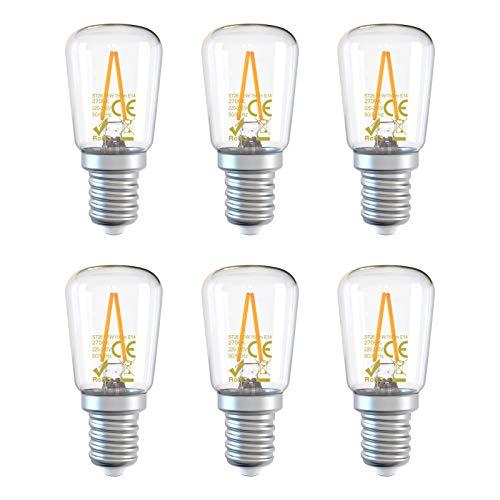 DGE 6X Bombillas Filamento LED E14 1.5W, Equivalente a 15W, 150Lm 2700K LED Bombillas Nevera/Refrigerador/Campana Extractora/Máquina de Cose, No Regulable[Clase Eficiencia Energética A++]