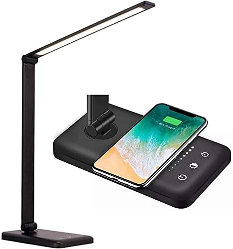 Lámpara de escritorio LED HOXIYA con carga inalámbrica y USB, 5 modos de temperatura de color, atenuación, control táctil y función de temporizador automático
