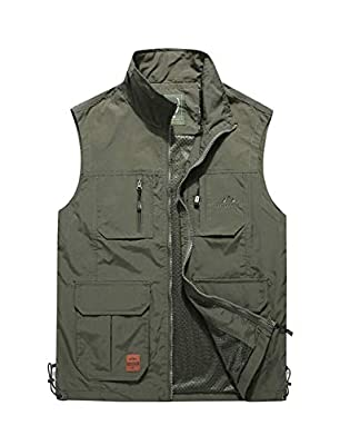Haellun Men's Work Multi-Pockets Lightweight Outdoor Travel Fishing Photo Vest (X-Large, Army Green)