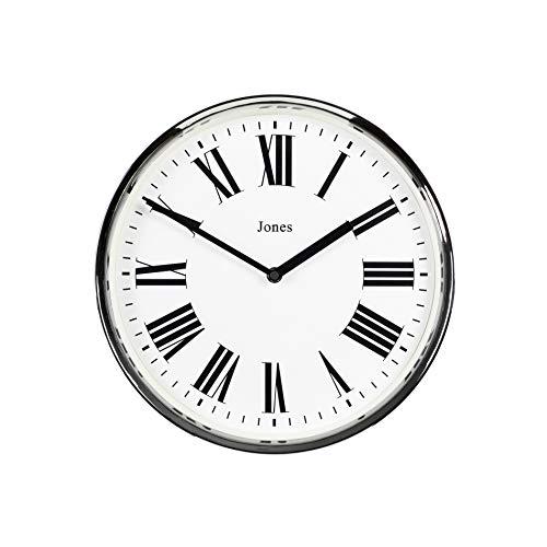 JONES CLOCKS ® Herzschlag-Wanduhr, Zeitgenössische Wanduhr mit römischen Zahlen, runde Wanduhr 30cm (Silber)