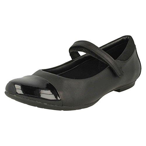 Clarks Tizz Talk Girls Senior Mary Jane School Shoes 5 F UK Black