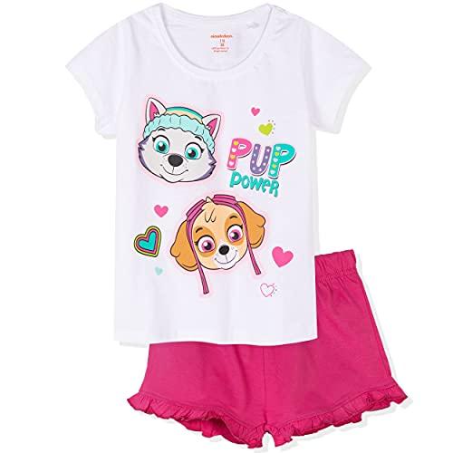 Paws Skye Character - Pijama de manga corta para niña (100% algodón, 2-8 años), blanco, 7-8 Años