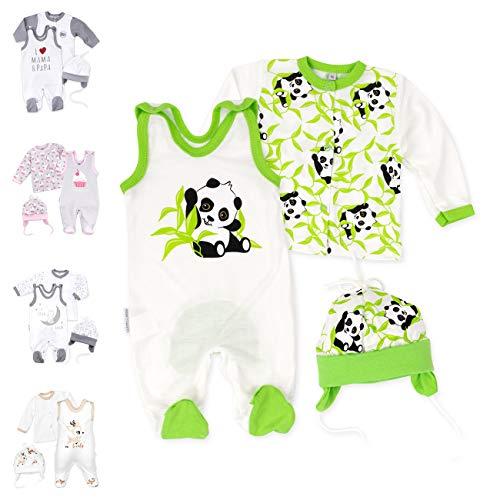 Baby Sweets 3er Baby-Set mit Strampler, Shirt & Mütze für Jungen & Mädchen in Grün Beige/Erstausstattung Bio-Strampler-Set im Panda-Motiv für Neugeborene & Kleinkinder in der Größe: 1 Monat (56)