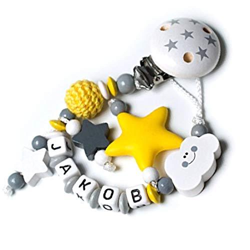 Schnullerkette Junge Gelb-Grau 3D Stern mit Wunschname Schnullerkette mit NAMEN Geschenk Sililkonbeißstern