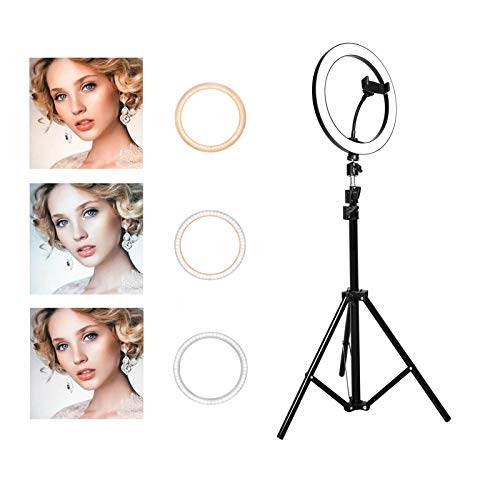 Ring Light with Stand OEBLD Selfie Light Ring with iPhone Tripod and Phone Holder for Video Photography Makeup Live Streaming YouTube Lighting (B(10.2