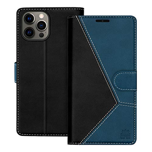 """Caislean Compatible with iPhone 12 Pro Max Wallet Case (6.7"""") PU Leather Flip Cover [RFID Blocking] Credit Card Holder [Soft TPU Shell] [Kickstand Function] Magnetic Full Protection Case, Navy Blue"""