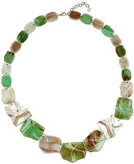 Collana acrilica di tendenza esagerata Orecchini geometrici Abito moda donna verde