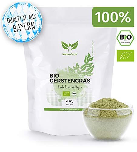 Poudre d'herbe d'orge biologique NaturaForte 1kg - Pure, moulue et sans additif, poudre d'herbe d'orge végétalienne, qualité alimentaire brute, jus d'herbe d'orge, super aliment à boire d'Allemagne
