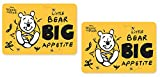 Set of 2 Winnie the Pooh plastic placemats, washable, 42 x 28 cm, great gift idea for children