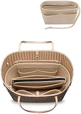 Felt Purse Insert Handbag Organizer Bag in Bag Organizer with Zipper Wallet Bag 8021 SM Beige product image