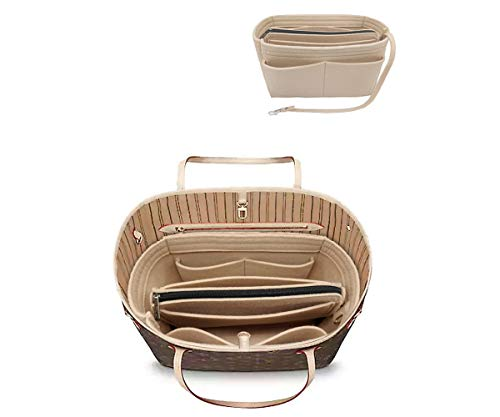 Felt Purse Bag Organizer Insert with zipper Bag Tote Shaper Fit LV Speedy 30 8021 Beige M