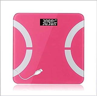 Xiaojie usb recargable doméstica báscula electrónica de precisión para adultos báscula de pesaje balanza electrónica balanza de cuerpo sano, rosa