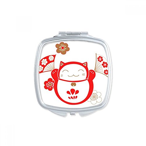 DIYthinker Chanceux Fortune Cat de Bell Flower Fan Japon Culture Place Makeup Compact Miroir de Poche Miroirs Mignon Petit Cadeau Portable à la Main Multicolore