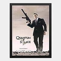 ハンギングペインティング - 007 慰めの報酬 OO7 Quantum of Solace 1のポスター 黒フォトフレーム、ファッション絵画、壁飾り、家族壁画装飾 サイズ:33x24cm(額縁を送る)