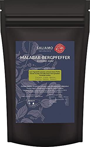 Schwarzer Malabar Pfeffer ganz, Bergpfeffer, Tigerpfeffer, aus Wayanad Hochland, intensives fruchtiges Malabararoma, zu Fleisch, Fisch, Gemüse, 100 g | Saliamo
