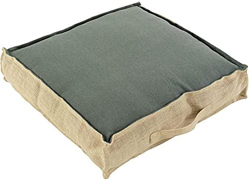 TIENDA EURASIA® Cojines de Suelo - 100% Algodón y Yute - 45 x 45 x 10 cm - Ideal para sillas, Bancos, palets, Suelos - Uso Interior y Exterior (Verde Caqui)