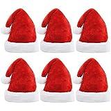 JOYIN - 6 sombreros de Papá Noel de lujo con terciopelo rojo y borde de felpa, sombreros de Navidad
