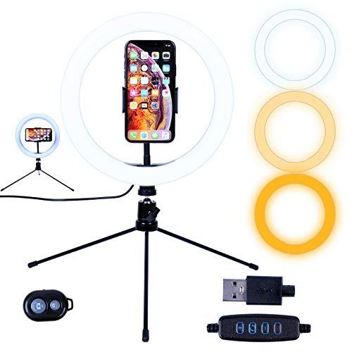 AGM 10'LED Selfie Ring Light con mini treppiede da tavolo, supporto per telefono | Telecomando Bluetooth per riprese fotografiche dal vivo