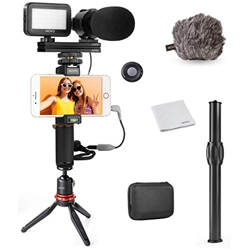 Movo Smartphone Video Rig Kit V7+ with Tripod, Grip Rig, Pro Stereo Microphone, LED Light and Remote - YouTube Equipment for iPhone 5, 5C, 5S, 6, 6S, 7, 8, X, XS, XS Max, 11, 11 Pro, Samsung Galaxy