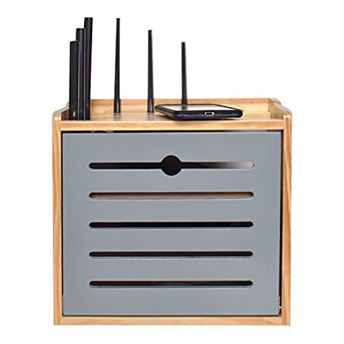 Caja de Almacenamiento de enrutador de Madera Maciza Estante multifunción Tira de Cable de alimentación Estante de Escritorio Soporte de Piso montado en la Pared