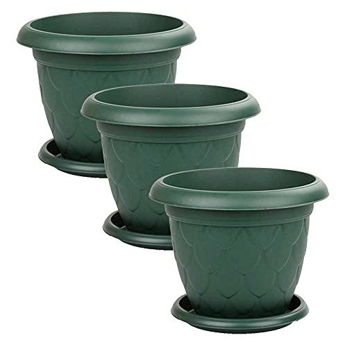 Maceta Redonda 26,5 cm diámetro, Set 3 Unidades, Maceta con Plato, 5 litros, Macetero (Verde)