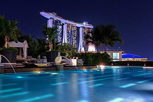 LFNSTXT Erwachsenenpuzzle 1000 Teile Singapur Marina Bay Sands Night Pools Puzzle für Erwachsene, Familien und Kinder Lernspiel Spielzeug Heimdekoration (70 x 50 cm)