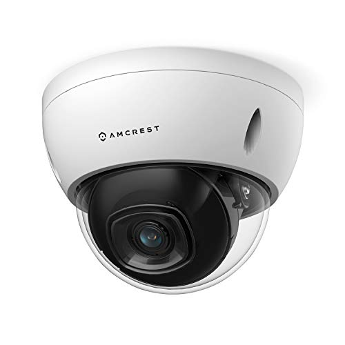 Amcrest 5MP POE Camera, Outdoor Vandal Dome Security POE IP Camera, 5-Megapixel, 98ft NightVision, 2.8mm Lens, IP67, IK10 Resistance, MicroSD 256GB (Sold Separately), Cloud, NVR (IP5M-D1188EW-28MM)