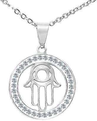 S.Steel A Round chain necklace with Hamsa decorations! Set with white crystals. Come's With S.Steel Chain