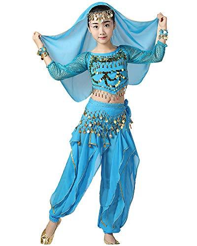 YAOTT Niñas 5 PCS Conjunto de Traje Disfraz de Danza del Vientre de Bollywood Indio con Top de Lentejuelas y Pantalones Lago Azul 5PCS(L)