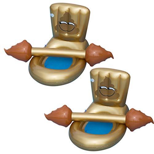 Juego de 4 piezas creativas divertidas hileras flotantes flotantes, taburete hinchable portátil, diseño de forma de inodoro, anillo de natación en interiores y exteriores, apto para adolescentes y adu