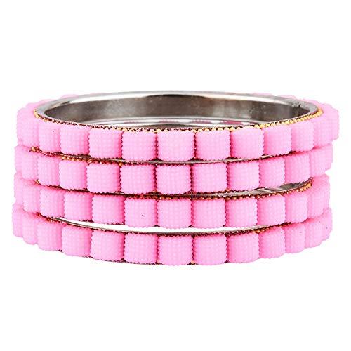 Efulgenz Indisches Armreif-Set Bollywood-Stil Strass rosa Kristall Brautarmband Schmuck-Set für Frauen Mädchen (4 Stück)