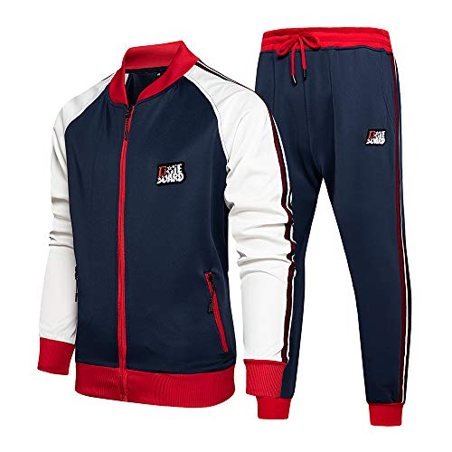 KASUNA Men's Casual Tracksuit Long Sleeve Full-Zip Running Jogging Athletic Sweat Suits Set Light Grey S
